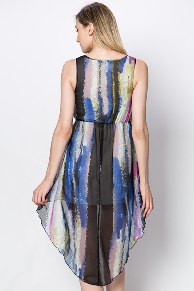 Striped Ink Blot Print Dress