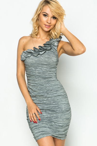 One Shoulder Shirred Dress