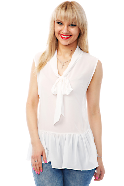 Neck Tie Sheer Peplum Blouse