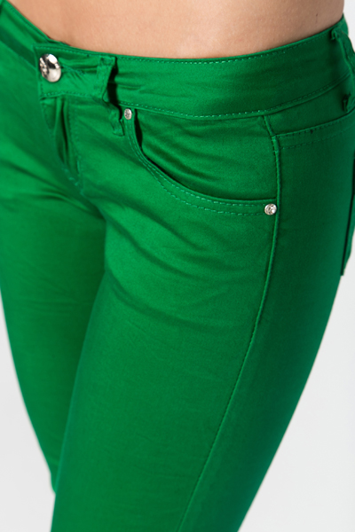 Metal Buttoned Green Trousers