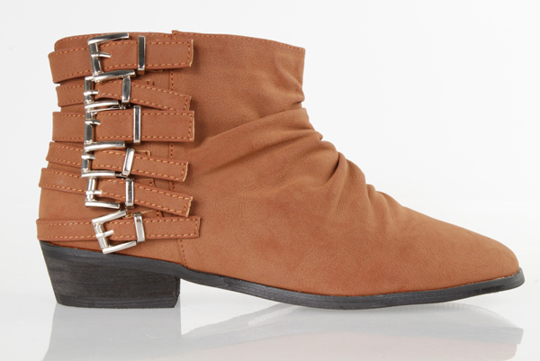 Multiple Side Strap Belts Flat Boots