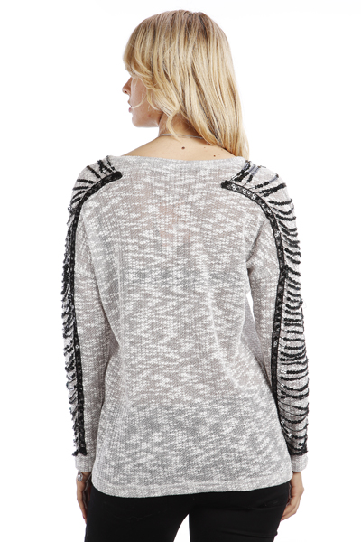 Sequins Embellished Sleeves Pullover