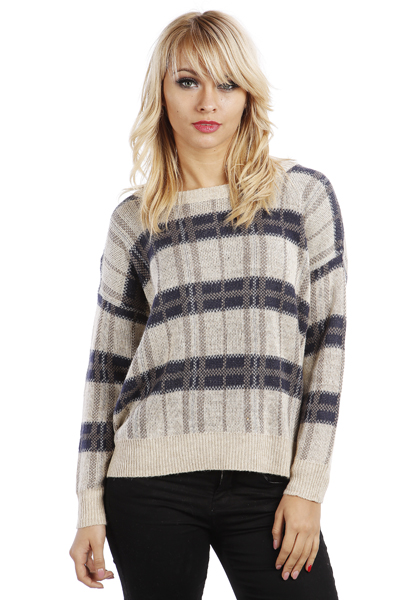 Checked Two Tone Knitted Jumper