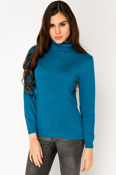 Roll Neck Cotton Jumper