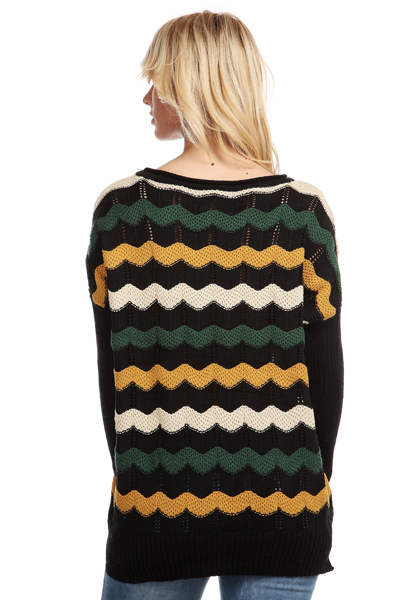 Multi Stripe Mix Knit Pullover