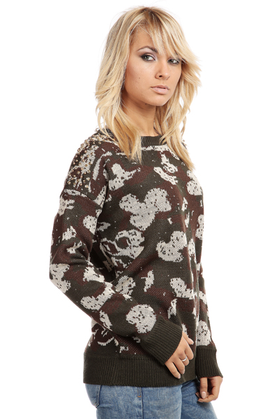 Stud Shoulder Camouflage Pattern Jumper