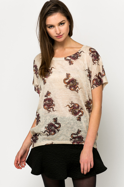 Studded Dragon Print Top