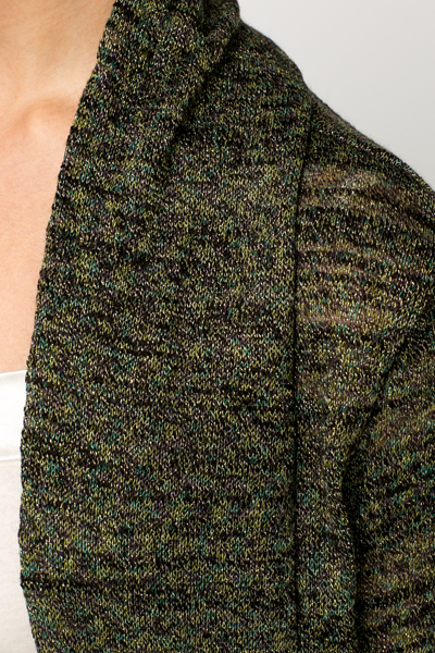 Metallic Knit Open Front Cardigan