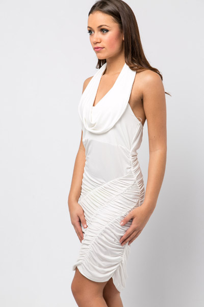 Ruched Halterneck Party Dress