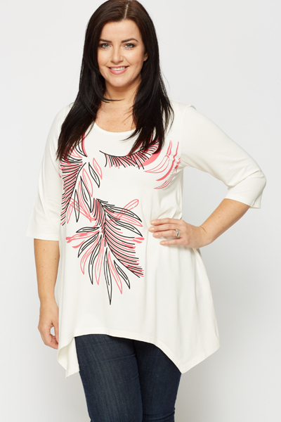 Asymmetric Hem Tropical Leaf Sketch Tunic