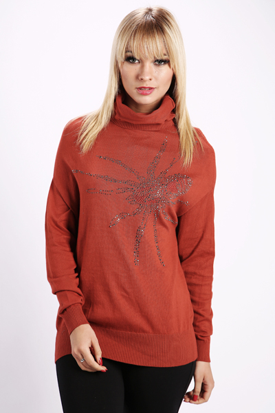 Sequined Insect Roll Neck Jumper
