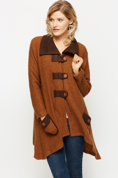 Textured Knit Asymmetric Cardigan