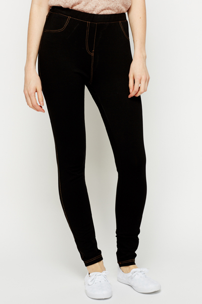 Cotton Blend Black Jeggings