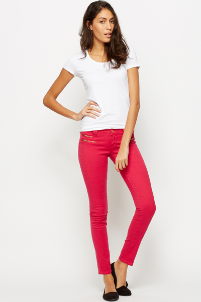 Zip Front Fuchsia Trousers