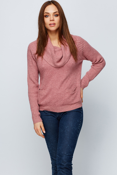 Pocket Front Roll Neck Jumper