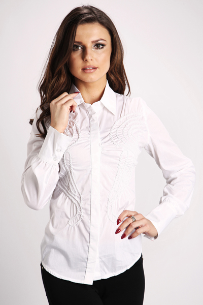Embroidered Swirl Button Down Shirt