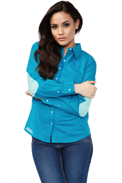 Contrast Elbow Patch Cotton Shirt