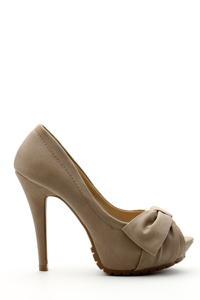 Pleated Bow Peep Toe Shoes