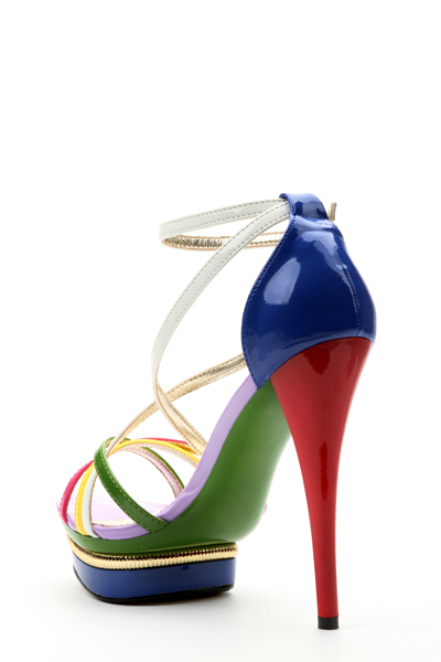 Colour Block Strappy Sandal Heels