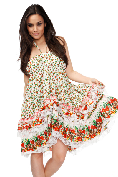 Lace Trimmed Flared Summer Dress