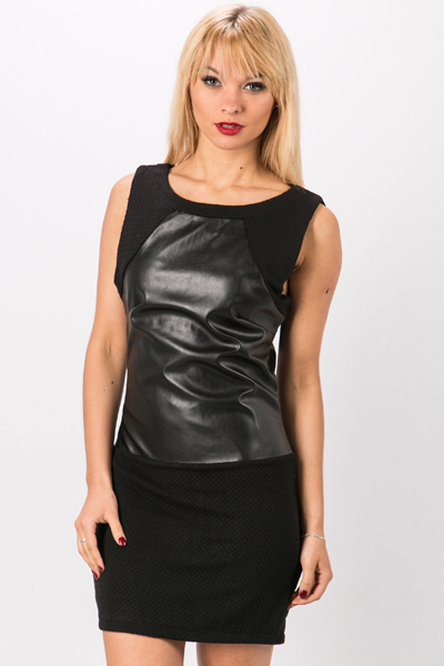 Contrast Faux Leather & Cotton Dress