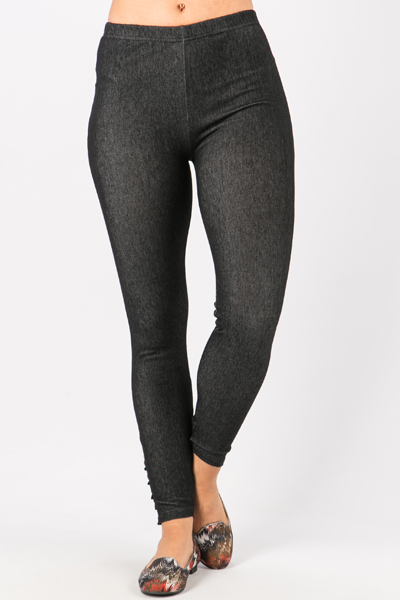 Button & Ruched Hem Leggings