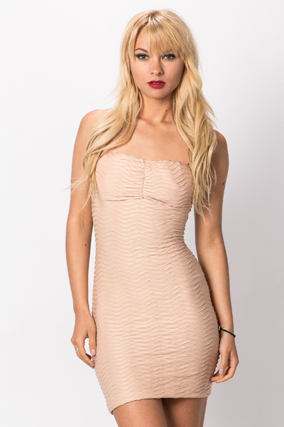 Bandeau Shirred Dress