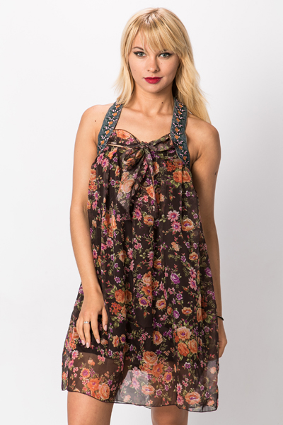 Embroidered Neckline Floral Dress
