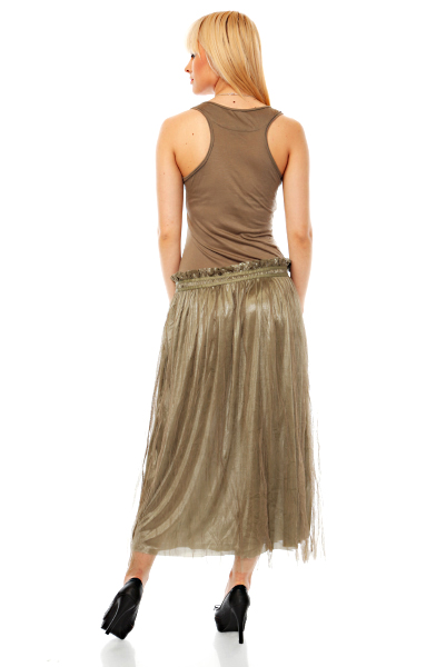 Net Layer Skirt Maxi Dress