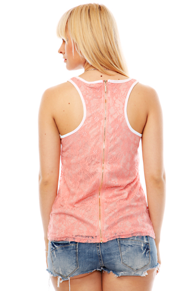 Zipper Back Lace Vest Top