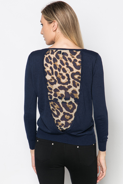 Cut Out Back Leopard Print Pullover