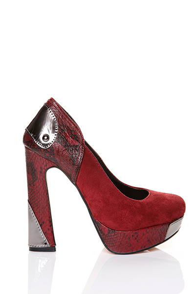 Mock Croc Platform Suedette Shoes