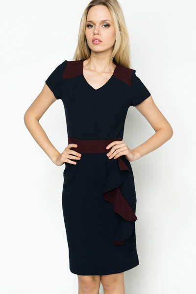 Frill Side Colour Block Dress