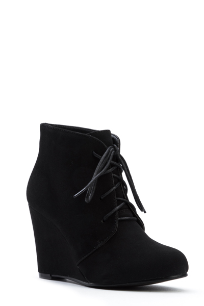 Lace Up Wedge Ankle Boots