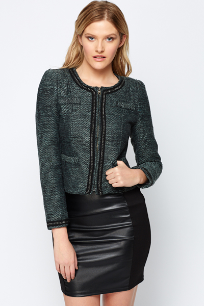 Twill Chain Crop Jacket