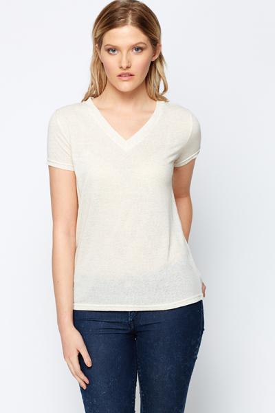 Image of V-Neck Speckled T-Shirt