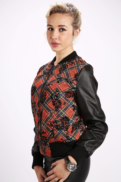 Check Tapestry Print Bomber Jacket