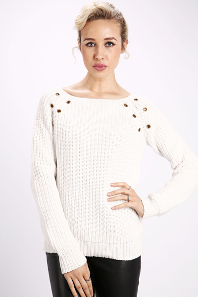 Embellished Shoulder Knit Jumper