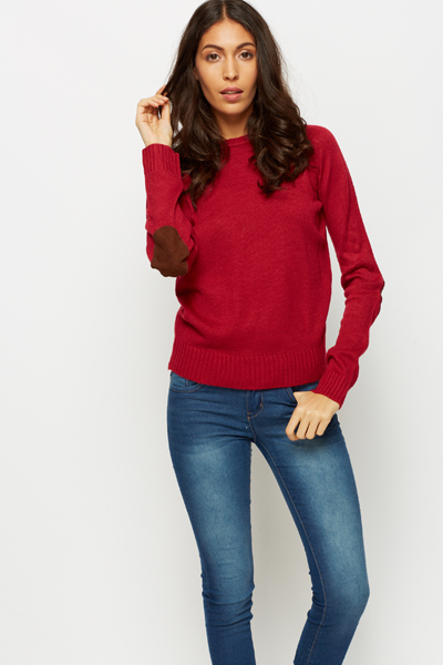 Contrast Elbow Patch Pullover