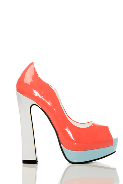 Colour Block Curved Top Peep Toe Shoes
