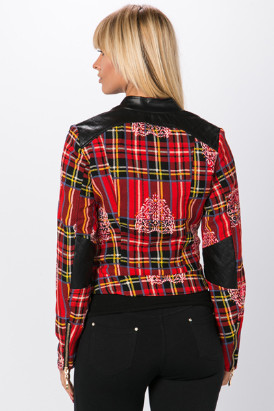Tartan & Faux Leather Mix Biker Jacket