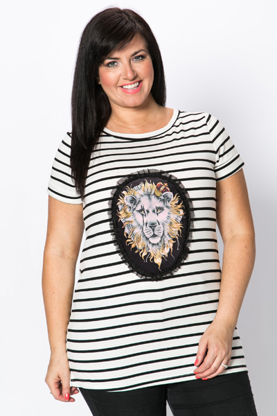 Lion Face Striped Top
