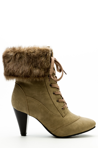 Faux Fur Trim Lace Up Boots