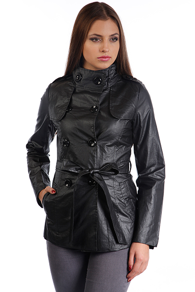 Wax Coated Short Trench Coat