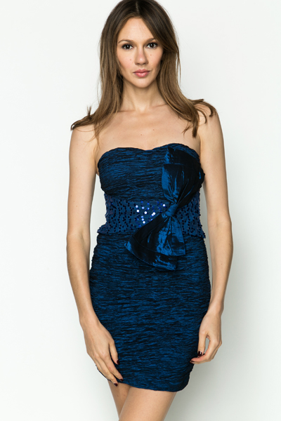 Large Bow Sequin Bandeau Dress