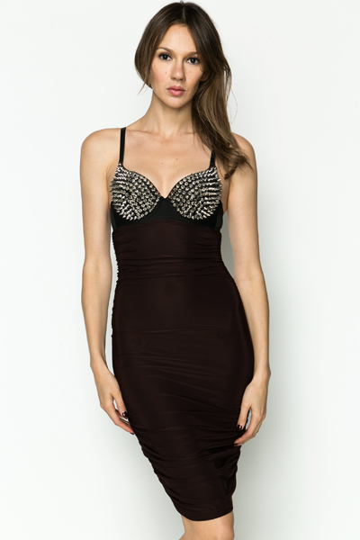 Spike Studded Bra Bodycon Dress