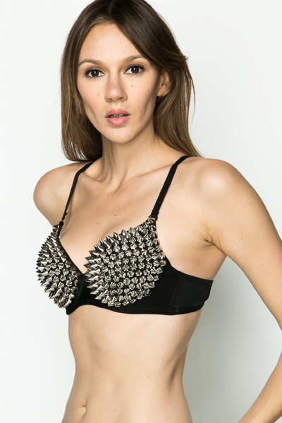 Large Stud Embellished Bra
