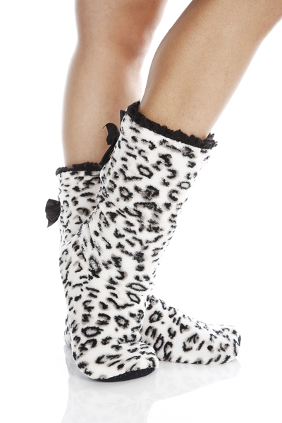 Bow Back Leopard Print Bootee Slippers