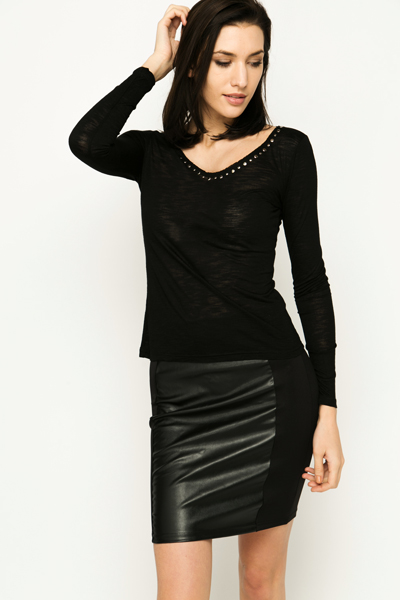 Stud Embellished Neckline Top