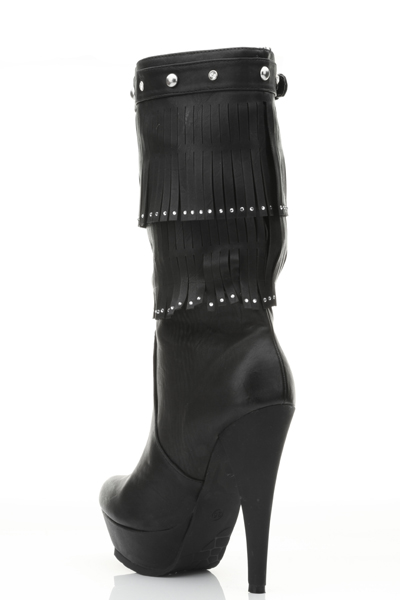 Encrusted Trim Fringed Boots